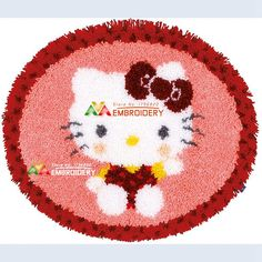 Latch Hook Rug Kits DIY Needlework Unfinished Crocheting Rug Yarn Cushion Mat Cartoon Cat Girl Embroidery Carpet Rug Home Decor