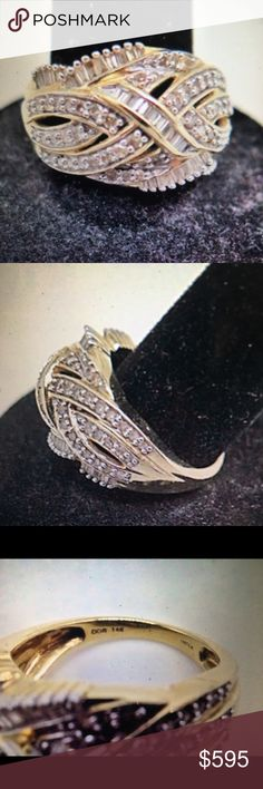 0b6503739cc Magnificent 1C Diamond and 14K Yellow Gold Ring Cocktail or any occasion  real Not enhanced Diamond