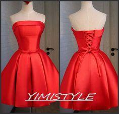 red prom dressesshort prom dress  платье на выпускной by YIMISTYLE