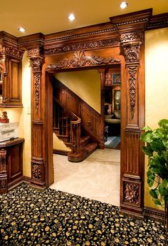 Benefits that you could derive by using the interior wood doors for your home or office. Wooden Arch, Wooden Door Design, Wooden Doors, Victorian Interiors, Victorian Homes, Pooja Rooms, Entrance Doors, House Entrance, Doorway