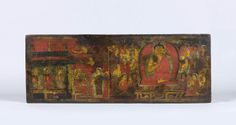 Manuscript cover with scene from the life of Buddha (inner face) and Vajradhara surrounded by foliage (outer face), Tibet, 12th century, Carved, painted and gilded wood, 27.3 x 74 x 4 cm (10 ¾ x 27 ¼ x 1 ½ in)