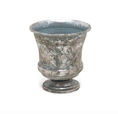 Small metal planter in silver