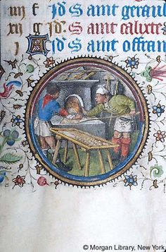 Medieval Manuscript Images, Pierpont Morgan Library, Book of hours (MS MS fol. Medieval Life, Medieval Art, Dude Perfect, Medieval Manuscript, Illuminated Manuscript, Renaissance, Baker Image, Medieval Recipes, Morgan Library