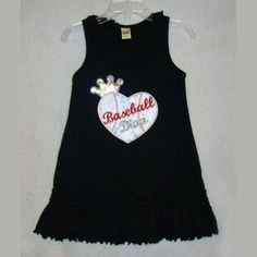 Cute for a little sis to wear to big brother's baseball game! Baseball Dress, Baseball T, Baseball Shirts, Baseball Stuff, Softball, Dodgers Shirts, Miss Priss, Kids Outfits, Cute Outfits