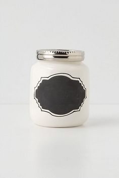 How cute are these? Use for spices, baking and loose leaf tea. For a DIY version you could buy mason jars, chalkboard paint for the label, white paint for the jar and any color for the lid. Though buying these at #anthropologie would be easier ;)    Chalkboard Spice Jar #anthropologie