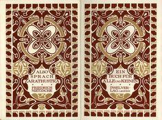 Henri van de Velde, title pages from Also Spracht Zarathustra (Thus Spoke Zarathustra), 1908.