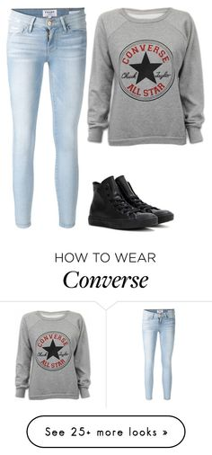 """Idk I'm bored so... CONVERSE"" by blueelephant115 on Polyvore featuring Converse, Frame Denim, women's clothing, women, female, woman, misses and juniors"