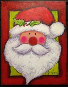 This original acrylic painting of Holly Santa is a charming addition to your Holiday Decorating. It is wired and ready to hang in any room or