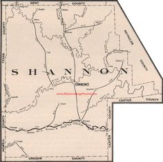 Shannon County Missouri 1904 Eminence, Winona, Birch Tree, Monteer, Montier, Teresita, Shawnee, Bartlett, MO