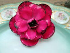 Vintage Large Enamel Flower Brooch Hot Pink 3D by Holliezhobbiez, $12.50