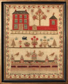Samplers with red houses! Elizabeth Watson, 1813