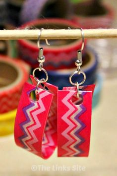 Make some bright colorful washi tape earrings quickly and easily using recycled plastic. Use different washi tape to customize them to any colors you want!