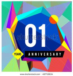 1st years greeting card anniversary with colorful number and frame. logo and icon with Memphis style cover and design template