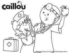 Caillou Coloring Sheet – Checkup Fun!