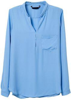 Blue Long Sleeve Pocket Loose Blouse 0.00
