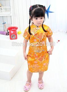 2017 New Summer Baby Girl NEW YEAR long Dresses Kid Chinese Style chi-pao qipao cheongsam gift