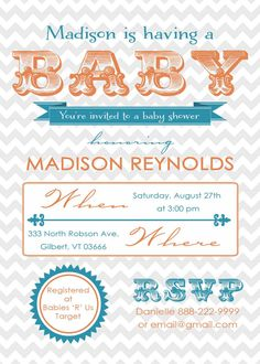 LOVE this invite! Could change to grey with yellow too @Amanda Snelson Snelson Pruitt DeLoach