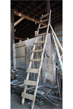 Old barn wood ladder. How fun would this be used in your home to decorate with??? Super fun!