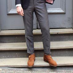 L.W Bottom - Navy mohair jacket, mid-grey s140's cuffed trousers, suede single monk boots. #oscarhunt #menswear #mensstyle #mnswr #sartorial