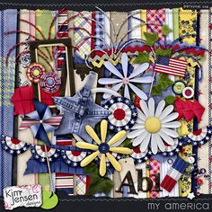 My America--Brand New Today! ***I love that there are more colors here than red, white and blue. There's a lovely yellow and green, too. And three wonderful firework sprays made with genuine beads! And d'you see the denim star? Do you? You KNOW you want to work with it.