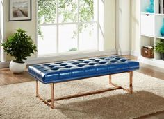 Gavin Navy Leather / Rose Gold Bench   Modern Bench by Meridian at Contemporary Modern Furniture  Warehouse