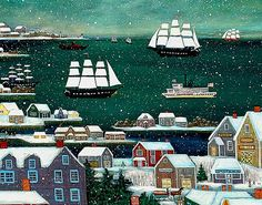 Winter in Nantucket Harbor by capecodfolkart on Etsy