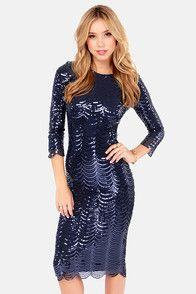 TFNC Paris Navy Blue Midi Sequin Dress