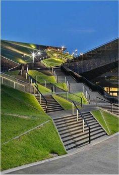 Pin by yu rin on Landschaftsarchitekt Landscape Stairs, Landscape And Urbanism, Landscape Architecture Design, Green Architecture, Landscape Lighting, Urban Landscape, Landscape Designs, Windows Architecture, Computer Architecture