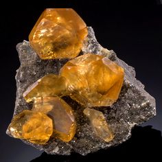 Golden Calcite on matrix - From an area near Daye County, Huangshi Prefecture, Hubei Province of China