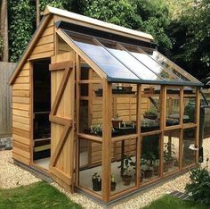 A shed, greenhouse combo that is perfect for any size bakcyard.
