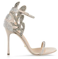 """Sergio Rossi Spring 2015 """"Matisse"""" evening sandal in a muted delicate hues embellished with tonal crystal."""
