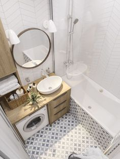 34 Awesome Small Bathroom Design Ideas For Apartment - It seems that one of the bathroom design trends is to make the bathroom larger. A spacious bathroom shows your preference for a comfortable lifestyle. Small Bathroom Makeover, Small Apartment Bathroom, Laundry In Bathroom, Bathroom Interior Design, Bathroom Decor, Modern Bathroom Decor, Bathroom Design Small, Tiny House Bathroom, Bathroom Layout