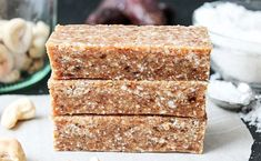 These Toasted Cashew Coconut Bars are sweetened with dates and are free of any processed sugar, but trust me you won't miss any of that toothsome taste. Raw Vegan Desserts, Raw Vegan Recipes, Vegan Gluten Free, Healthy Recipes, Whole 30 Recipes, Sweet Recipes, Healthy Protein Snacks, Healthy Eating, Coconut Bars
