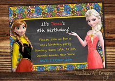 Elsa and Anna in Summer Frozen Birthday by AnastasiaArtDesigns, $8.99 Elsa Frozen, Disney Frozen, Frozen Birthday Invitations, Rsvp, Anna, Birthday Parties, Unique Jewelry, Handmade Gifts, Cool Stuff