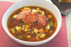 Chorizo adds an extra special twist to this hearty winter soup. The ingredient of Lentil And Chickpea Soup With. Chorizo Soup, Chorizo Recipes, Lentil Recipes, Lunch Recipes, Cooking Recipes, Healthy Recipes, Healthy Meals, Yummy Recipes, How To Make Lentils