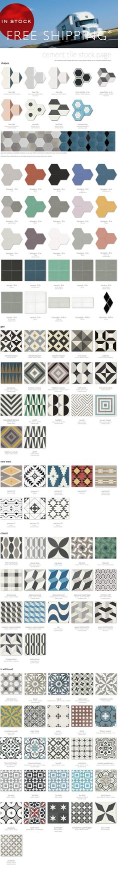clé cement tile in-stock, $14.50/sf for 2 colors, 16/sf for 3 colors or more