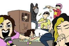 xD I don't know what they're doing but I like it!!!  Must have been an intense game of monopoly... o.o
