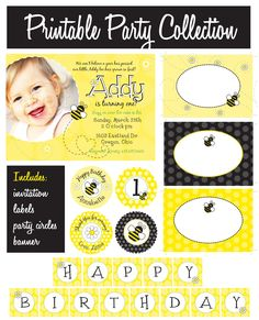 Bumble Bee Party Collection - PRINTABLE INVITATION by Itsy Belle. $15.00, via Etsy.