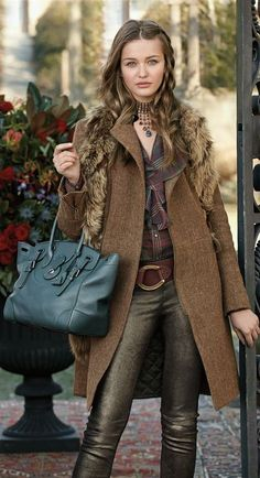 Fall fashion: bronze leather pants and brown coat.....Ralph Lauren