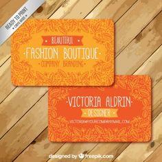 Cartão de visita de laranja com folhas