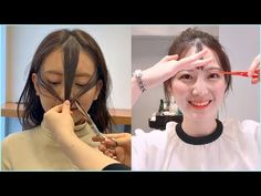 How To Cut Fringe, How To Cut Bangs, How To Style Bangs, Long Hair With Bangs, Korean Bangs Hairstyle, Korean Haircut, Bun Hairstyles, Korean Short Hair Bangs, Hair Korean Style