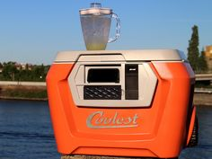 the COOLEST cooler!!!   NEED!   blender, waterproof bluetooth speaker, usb charged, LED light, gear tie down, cooler divider/cutting board, beach wheels, integrated storage for plates & knife, built-in bottle opener = awesome!