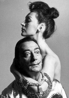 Salvador Dalí with his wife Gala in 1964