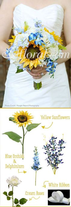 Fill your DIY wedding bouquet with beautiful silk sunflowers from Afloral.com. Find cheap wedding flowers and helpful wedding DIYs at Afloral.com.