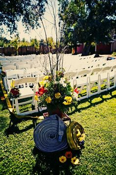 Such a cute way to use firefighter equipment as decoration. Cute Wedding Ideas, Perfect Wedding, Fall Wedding, Our Wedding, Dream Wedding, Fireman Wedding, Firefighter Wedding, Firefighter Family, Firefighter Crafts