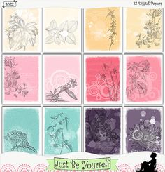 This instant download digital collection of 12 printer-ready 8.5 x 11 inch papers features vintage flower illustrations, vintage text, and retro spots and dots, and a beautiful palette of pink, yellow, purple, and turquoise, create a lovely background for your visual or art journals. (1022)