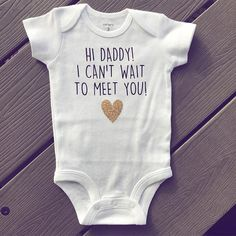 This little outfit is the sweetest way to tell your Hubby that you guys are having a BABY!!! YAY! This listing includes one white baby outfit customized with Vinyl Writing, as pictured. Please choose your size from the dropdown menu, and your color request! The color request is for
