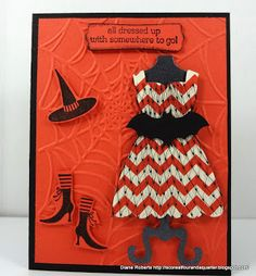 Products are: Stampin' Up Tangerine Tango and Basic Black card stock, Modern Label Punch, Bat Punch (retired), Spider Web Embossing Folder, Wicked Cool and All Dressed Up Stamp Sets, and Dress Up Framelits.