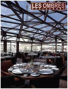 Les Ombres Restaurant at Musee de Quai Branly: offers romantic rooftop dining w/ breathtaking views of the Eiffel Tower. 27 quai Branly