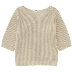 UNIQLO Women Oversized Wide Sleeve Sweater (1.870 RUB) ❤ liked on Polyvore featuring tops, sweaters, loose fit tops, oversized tops, oversized chunky knit sweater, textured sweater and oversized sweaters